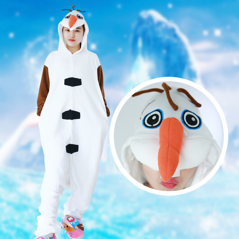 Leopard Couples take animal Olaf cartoon piece pajamas polar fleece couple hooded home service Adult pet anime cosplay costumes
