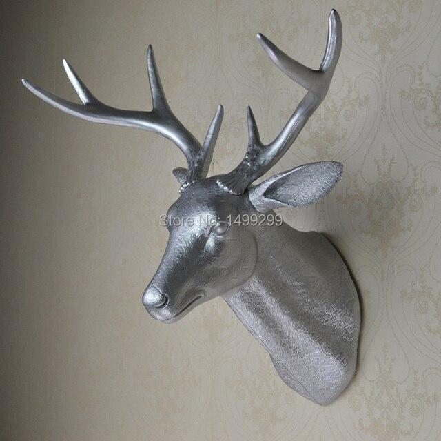 Ealisen Wall Mounted Silver Buck Bust Whitetail Deer Head Trophy Art Plaque Hunt Sculpture