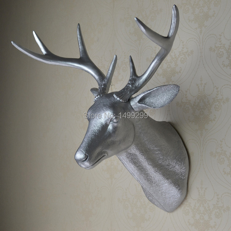 Wall Mounted Silver Buck Bust Whitetail Deer Head Trophy Wall Art Plaque Hunt Sculpture Faux