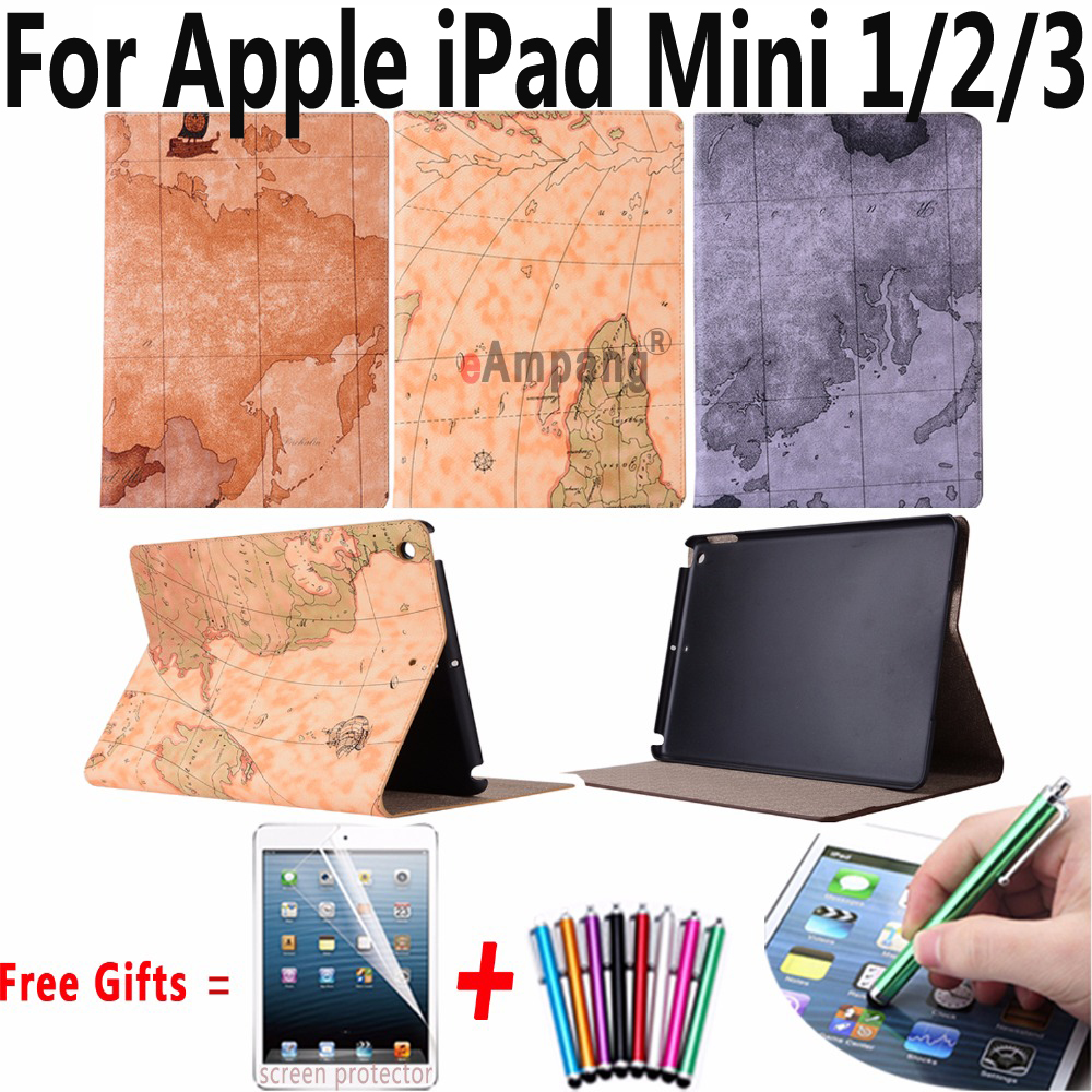 For Apple iPad Mini Case PU Slim Smart Cover for iPad Mini 3 Tablet Accessories Case Retro Map Stand Case for iPad Mini 2