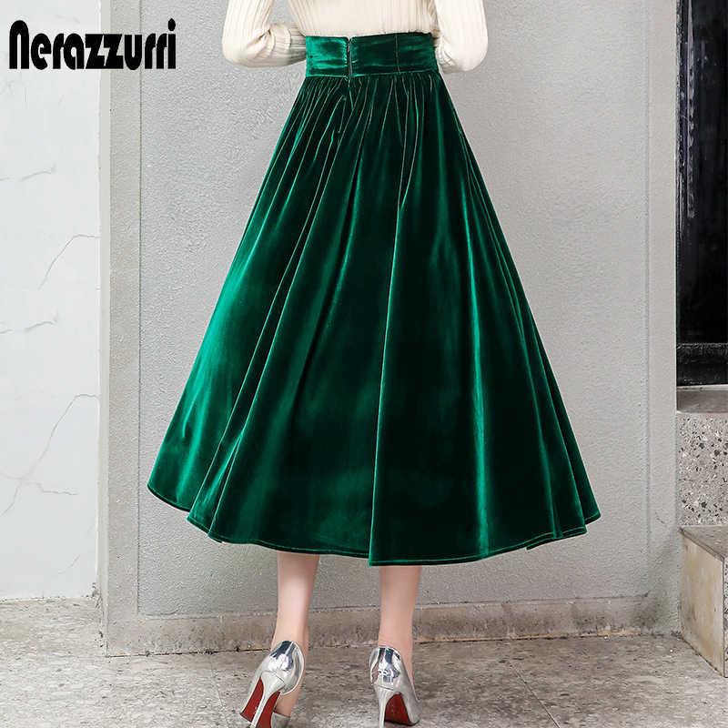 Nerazzurri a pieghe in velluto donne del pannello esterno nero verde di stile gotico elegante lungo caldo a vita alta midi pannello esterno più il formato 4xl 5xl 6xl 7xl