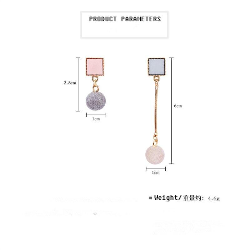 Ajojewel Simple Acrylic Geometric Earrings Women Velvet Ball Asymmetrical Earrings Jewellery Wholesale 1