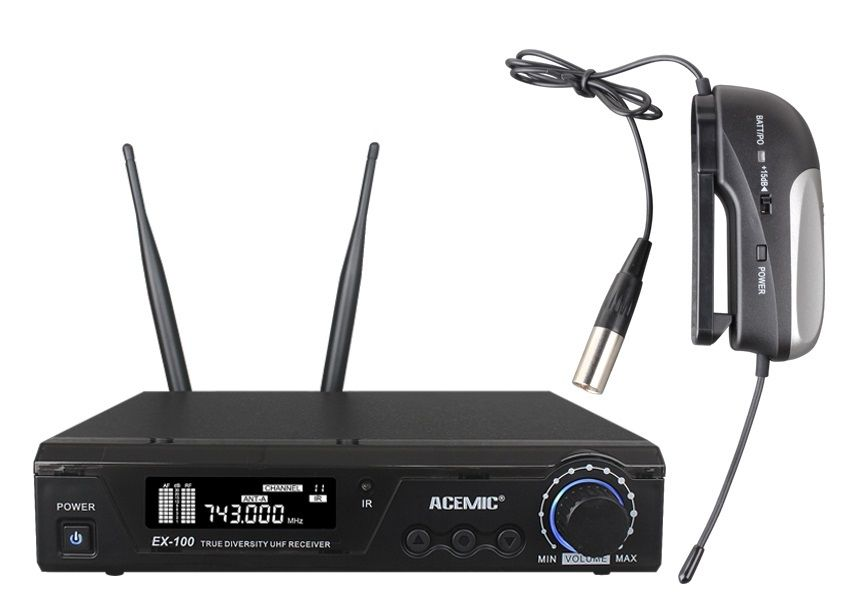 UHF Wireless Instrument Mic System ACEMIC EX-100 mini-BP Wireless Microphone for Performance / all Instrument Mic