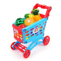 Simulation Supermarket Shopping Cart Pretend Play Toy Mini Plastic Trolley Play Toy Gift for Children Play Role in Pretend Game