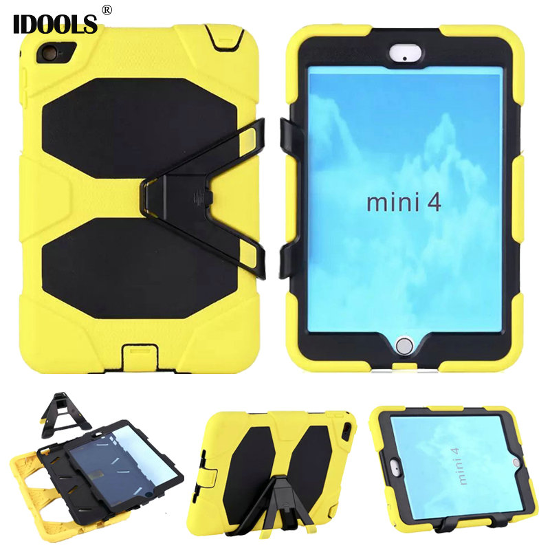 3 in 1 Hybrid Plastic+Silicon Heavy Duty Shockproof Dual Layer Rugged Military Armor Back Cover Case For iPad Mini 4 IDOOLS 3 in 1 hybrid heavy duty shockproof dual layer military armor back cover case for apple ipad mini 4 case cover tablet case gifts