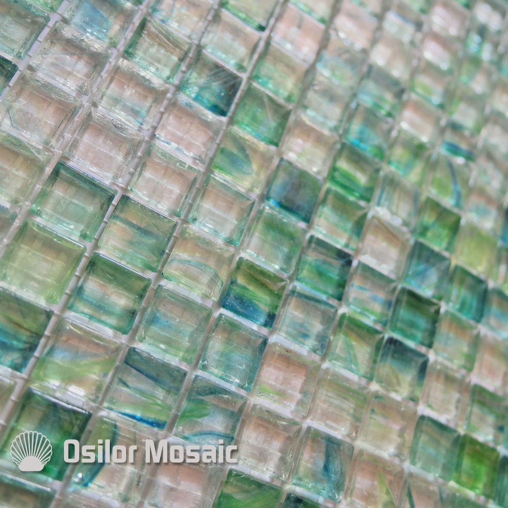 Free shipping green glass crystal mosaic tile for bathroom or living ...