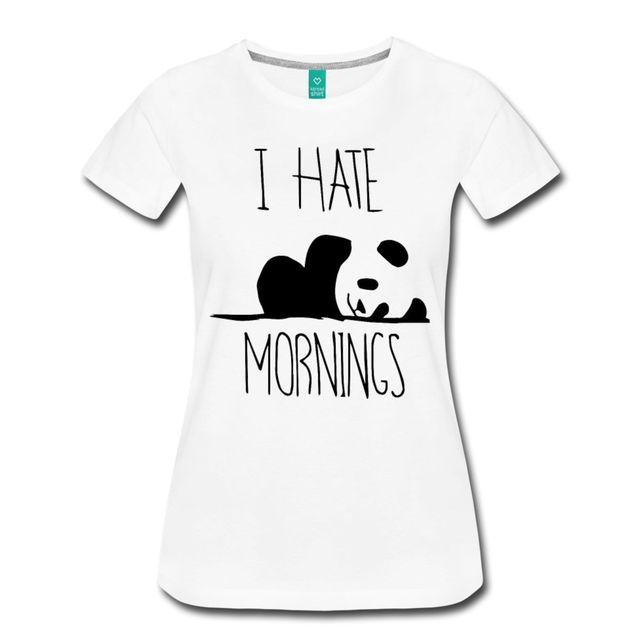 Panda I Hate Mornings Quote Women S T Shirt Fashion Brand Korean