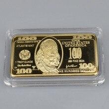 100 долларов США слиток 24k золотой бар Американская металлическая монета золотые слитки USD с подарочной коробкой