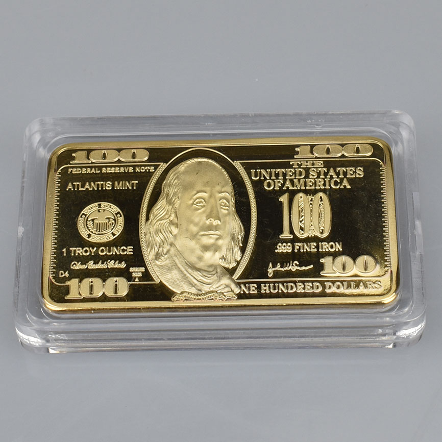 USD 100 Dollar Bullion 24k Gold Bar American Metal Coin Golden Bars USD with gift box|Non-currency Coins| |  - title=