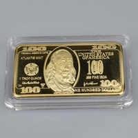 USD 100 Dollar Bullion 24k Gold Bar American Metal Coin Golden Bars USD with gift box