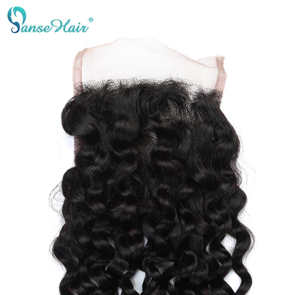 Brazilian Kinky Curly Lace Closure Free Middle Three Part 100% Human Hair Lace Closure Non Remy 130% Density Swiss Lace Closure