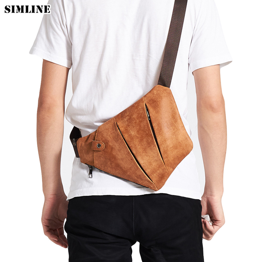 SIMLINE Genuine Leather Men Crossbody Bags Men s Cowhide Vintage Casual Shoulder Messenger Chest Bag Small