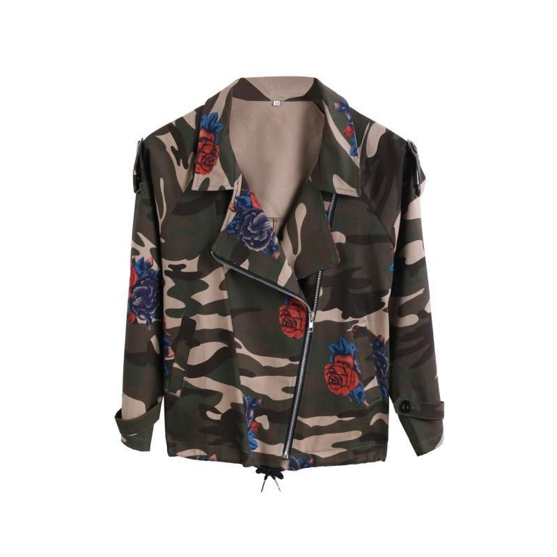 Bat <font><b>sleeve</b></font> Vintage Army Green camo denim jacket coat Rose Print Camouflage women <font><b>Jeans</b></font> coat FS0027