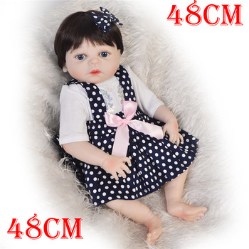 48cm Newborn Reborn Babies Dolls Real looks Like girl Silicone Reborn Boneca Baby bath Toy vinyl Body Fashion Kids Playmates gif