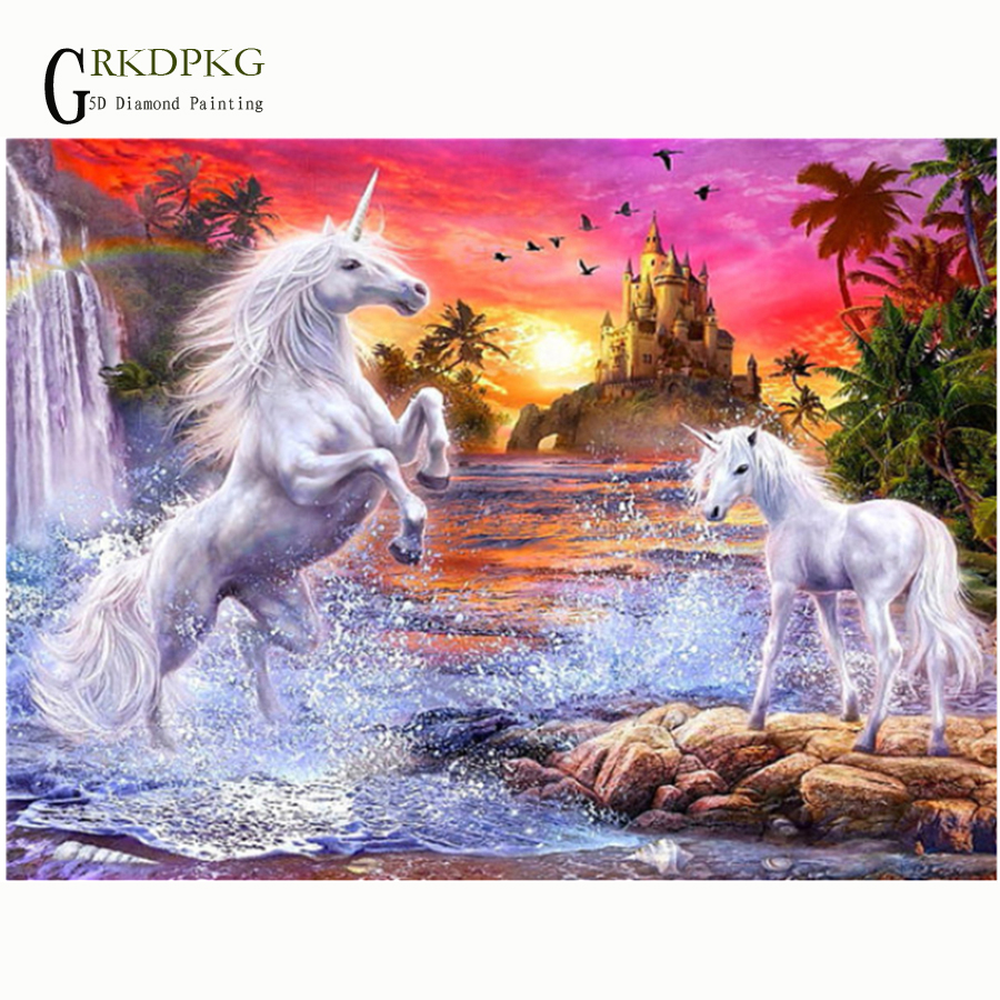 5D Diy Full Diamond Painting Pegasus Castl Pictures Cross Stitch kits Diamond Embroidery Crystals round Diamond Mosaic Landscape