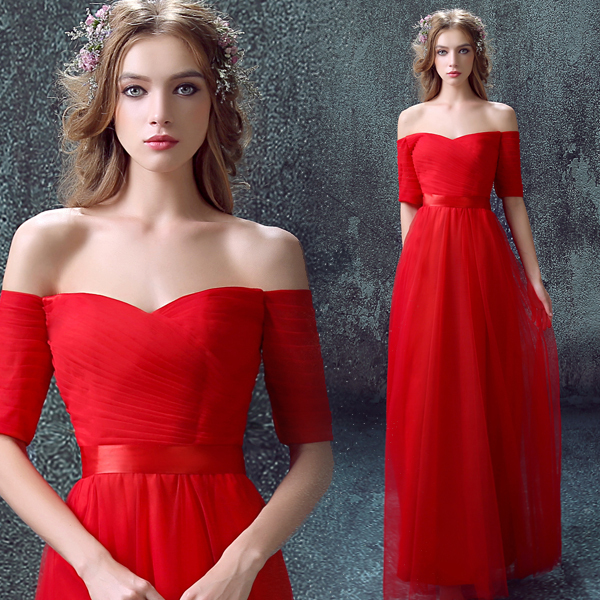 2016 new arrival stock maternity plus size bridal gown Wedding party Red Long  sexy simple red Chinese Formal Evening dress 397 1658a5f01d96