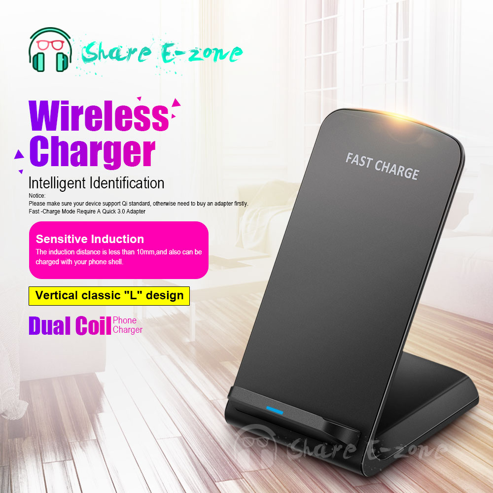 Shareezone Dual Coil Qi Wireless Charger For iPhone X 8 7