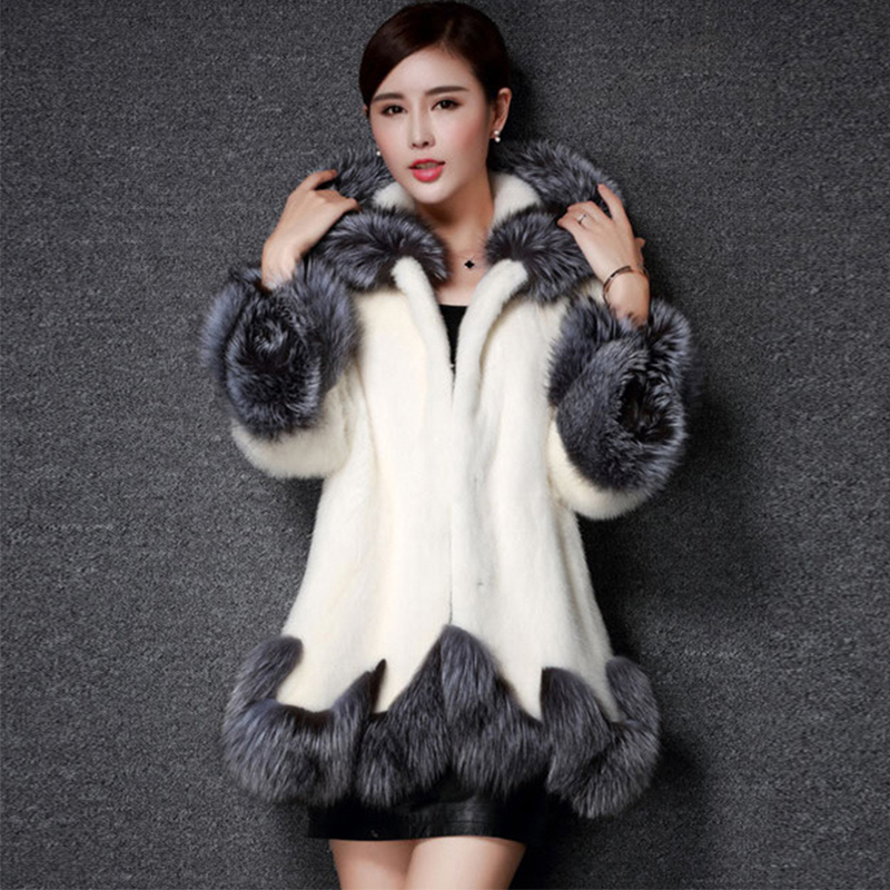 2017 Fashion Winter Women Faux Fox Mink Fur Coat Woman Fur Coat White Gray With Fur Hooded Artificial Fur Jacket 6XL LJLS041
