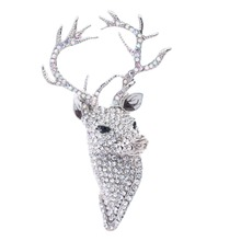 Clear Rhinestone Crystals Animal Head Deer Broach Brooch Jewelry Accessories FA3181