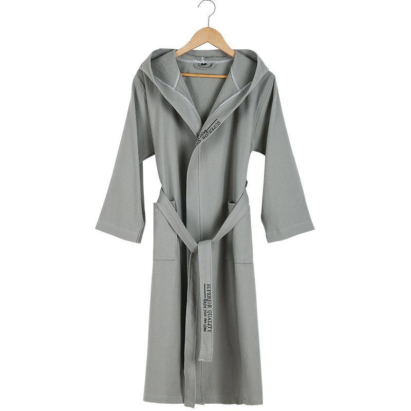 Five-star Hotel Bathrobe Men Hooded 100% Cotton Men's Robe Summer Thin Couples Bride Wedding Men Bath Robe Male Dressing Gown