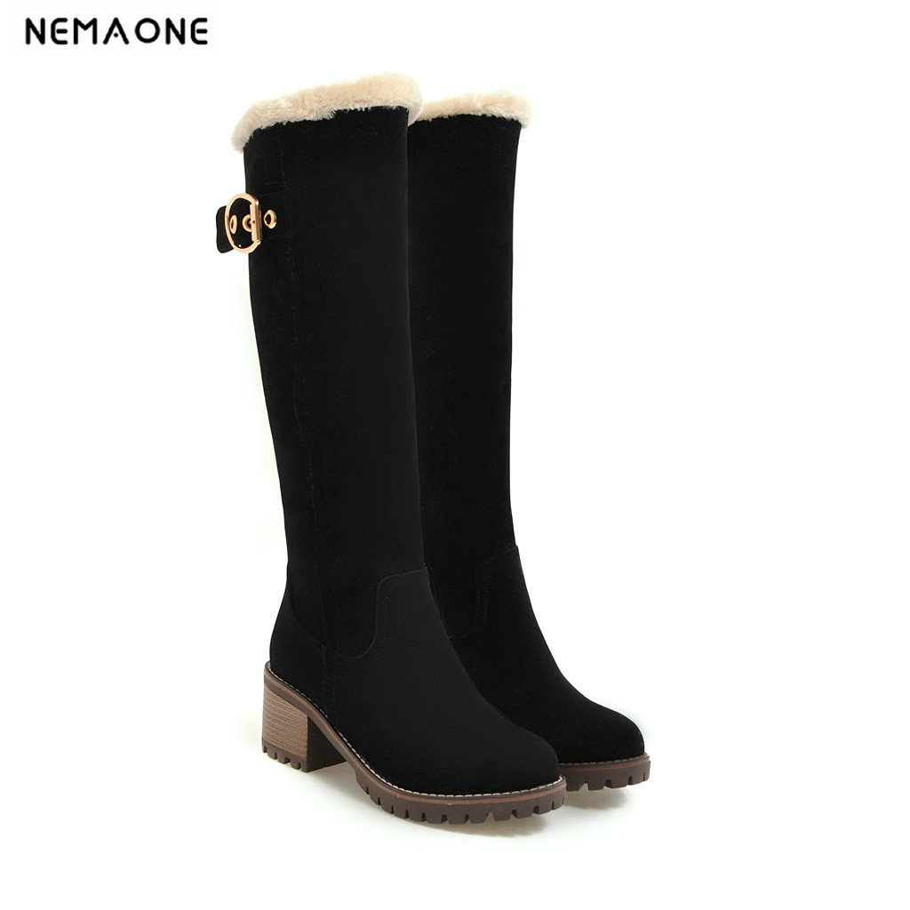 NEMAONE Women Boots Female Winter Shoes Woman Fur Warm Snow Boots Fashion Square High Heels knee high Boots Black Boots