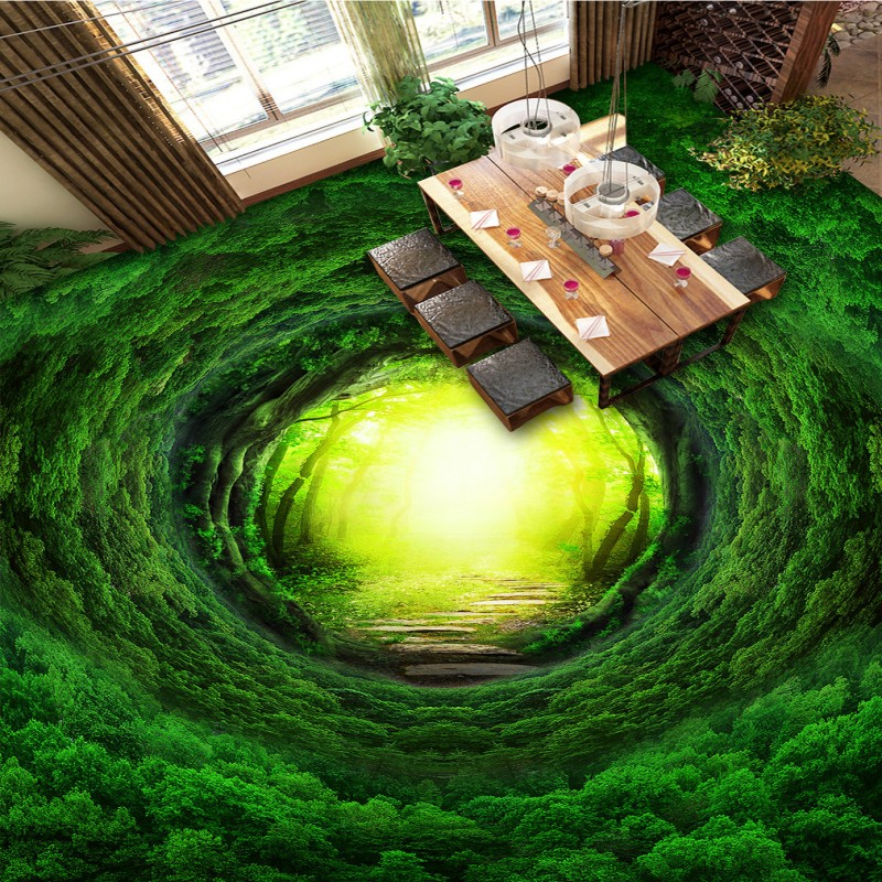 Free Shipping Magic fantasy forest path 3D flooring painting non-slip PVC living room park floor wallpaper non timber forest products enterprise development