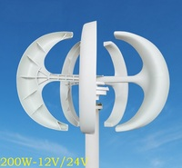 WWS ENERGY Vertical Axis Wind Power Generator 200W 12V Or 24V Include Generator Controller 3 Blades