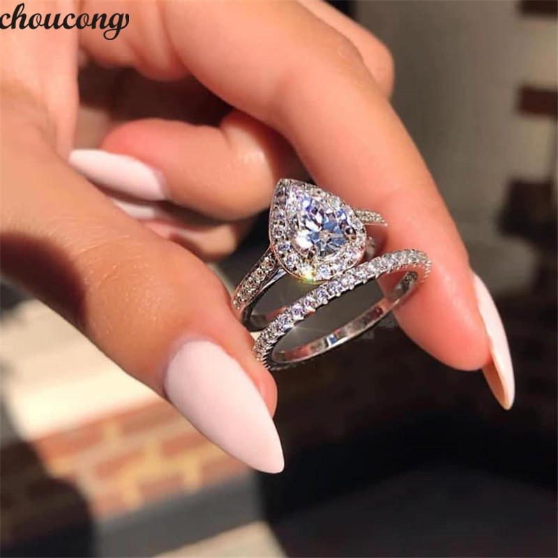 Choucong Lovers Promise Ring Set Pear Cut 5A Zircon Stone 925 Sterling Silver Engagement Wedding Band Rings For Women Jewelry