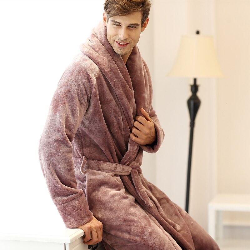 Mens Robe Bathrobe Home Fleece Full Length Premium Sleepwear