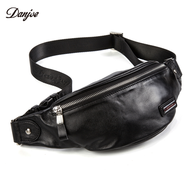 DANJUE Genuine Leather Men s Waist Packs Natural Leather Money Bags For Men  Casual Shoulder Bag Men Small Waist Pack Trendy e8883e8f8d166