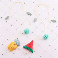 Korea Handmade New Cute Watermelon Pineapple Fabric Children Necklace For Girls Kids Pendant Apparel Accessories-HZPRCGNL022F