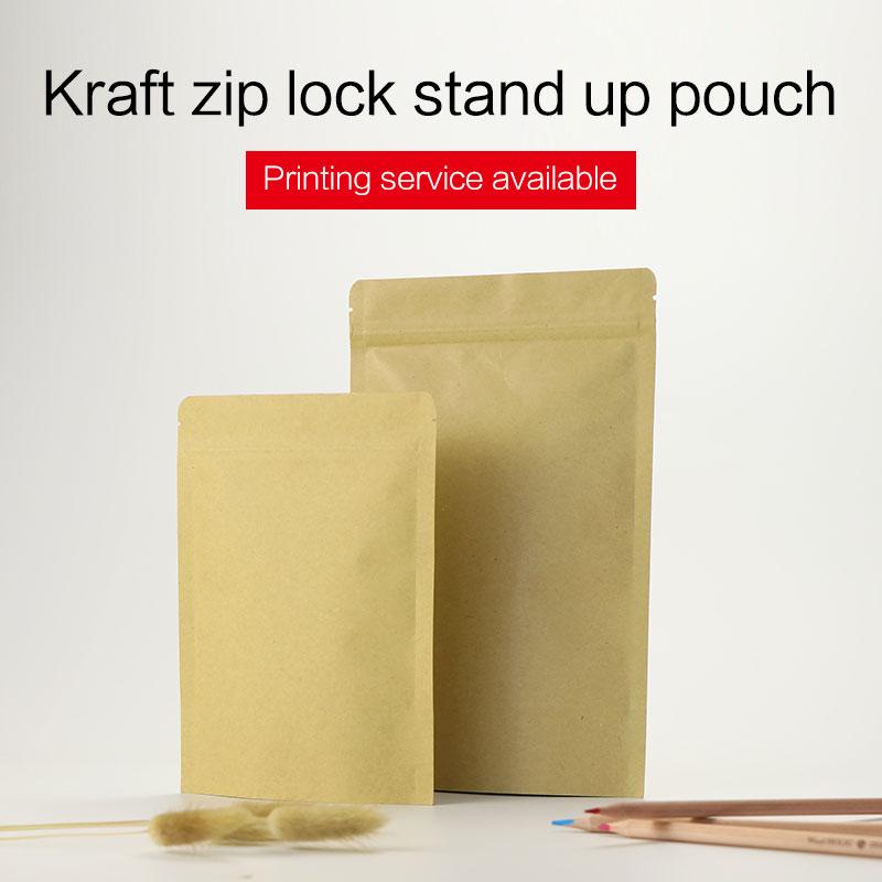 levántese la bolsa papel kraft marrón con cremallera papel de - Organización y almacenamiento en la casa