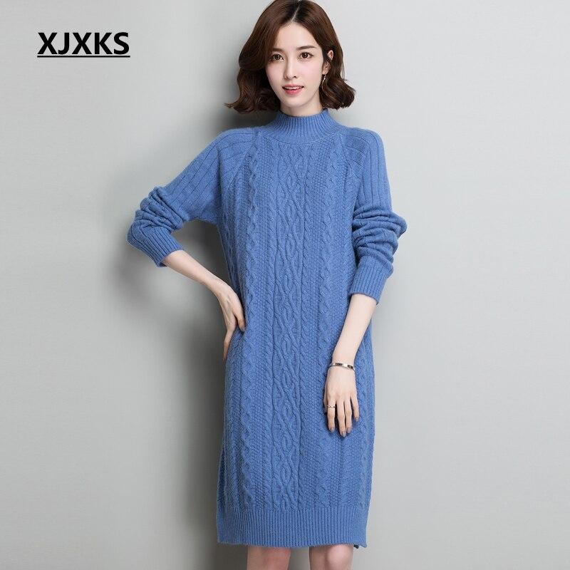 reputable site 20804 b3310 Xjxks Beige Pullover Alto Vintage blu A Inverno Donne E ...