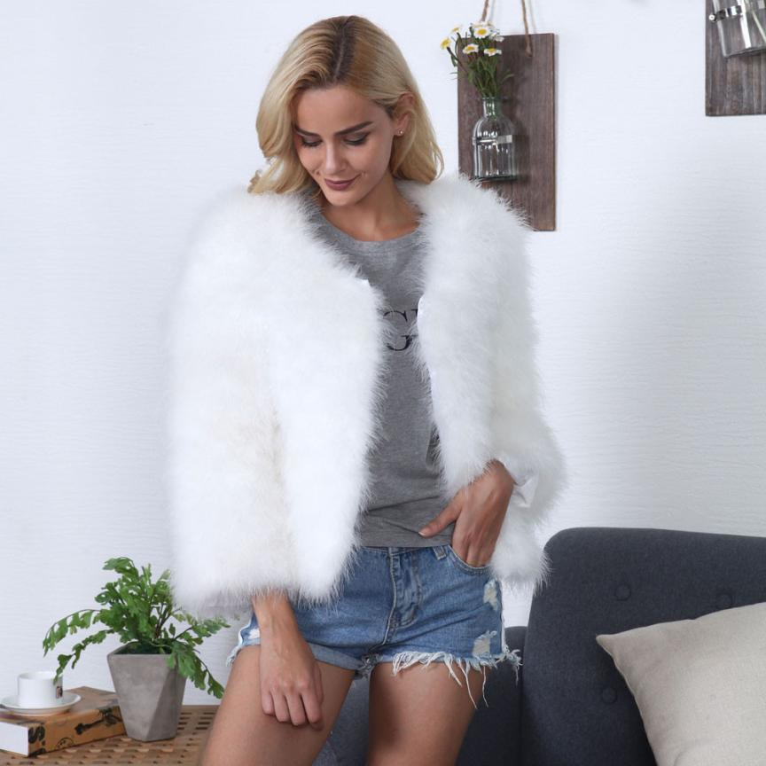 MUQGEW New Arrival Fashion Luxurious Women Faux Fur Ostrich Feather Soft Fur Coat Jacket Fluffy Popular Winter Xmax Warmer