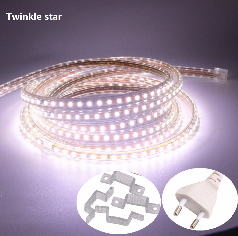 220v 230v 240v led strip light smd 2835 waterproof IP67 IP68 warm white red blue green yellow outdoor tape rope with power plug