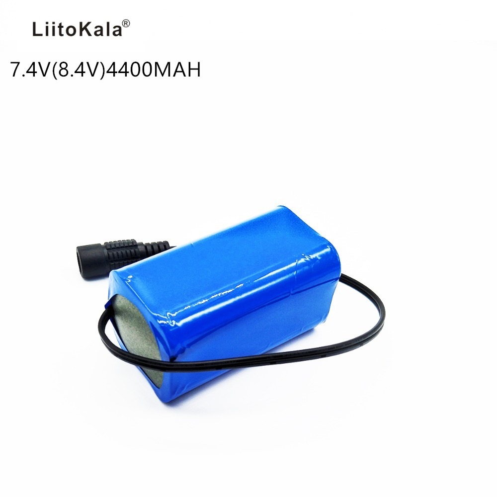 Liitokala <font><b>7.4V</b></font> 8.4V <font><b>4400mAh</b></font> <font><b>Battery</b></font> 18650 <font><b>Battery</b></font> 4.4ah Rechargeable <font><b>Battery</b></font> for Bicycle Lights / CCTV / Camera / Electric image
