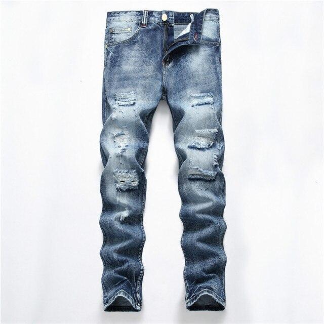 b0c6ae5785a 2018 New Biker Men Jeans Fashion Straight Slim Casual Jeans Men Pants Brand  Plus Size Cotton Ripped Jeans Pants Men Hot Sale