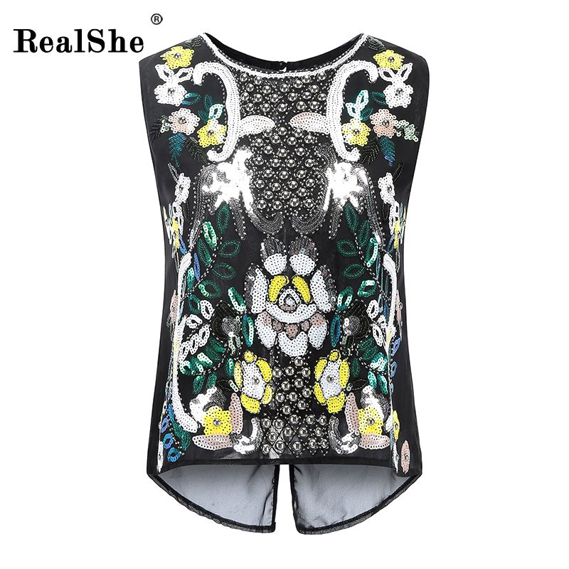 RealShe Tank Top Women 2017 New Sequins Sleeveless Shirt Sexy O-neck Cami Loose Casual Blouses Female Tops Vest Ladies Clothing