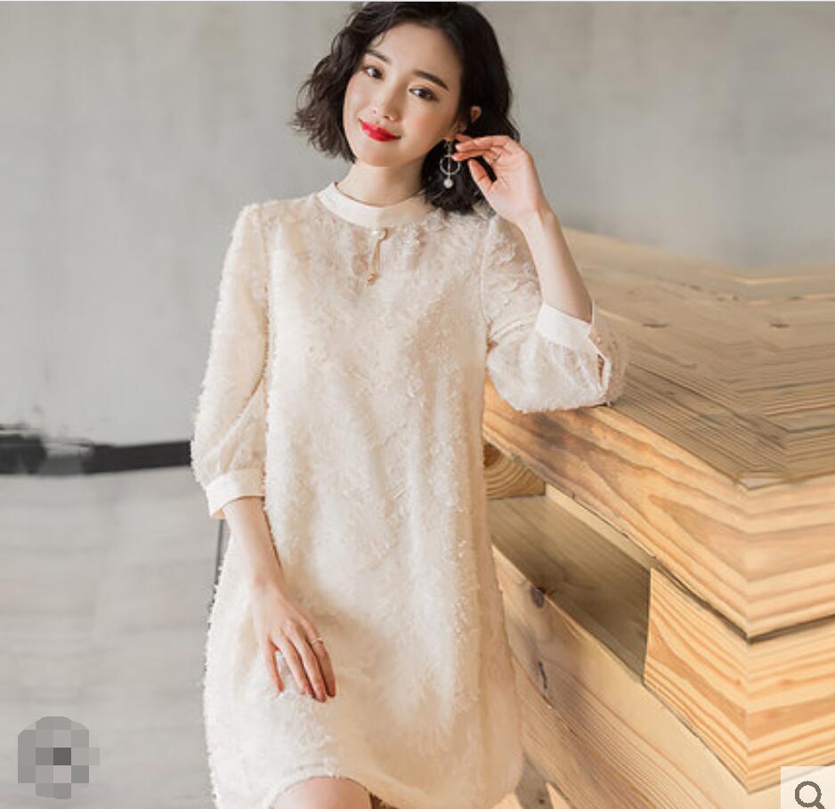 Printemps été mode coréenne vêtements femme Beige noir dentelle dame Blouse décontracté lâche femme longue chemise trois quarts en mousseline de soie haut