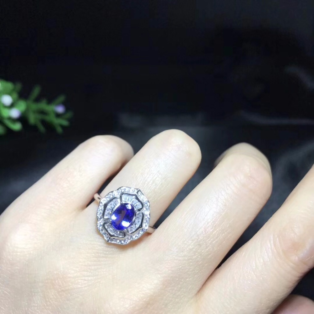 Natural Tested Tanzanite Gemstone Ring 925 Sterling Silver 5 7mm Birthstone Jewelry Wedding Anniversary Ring for
