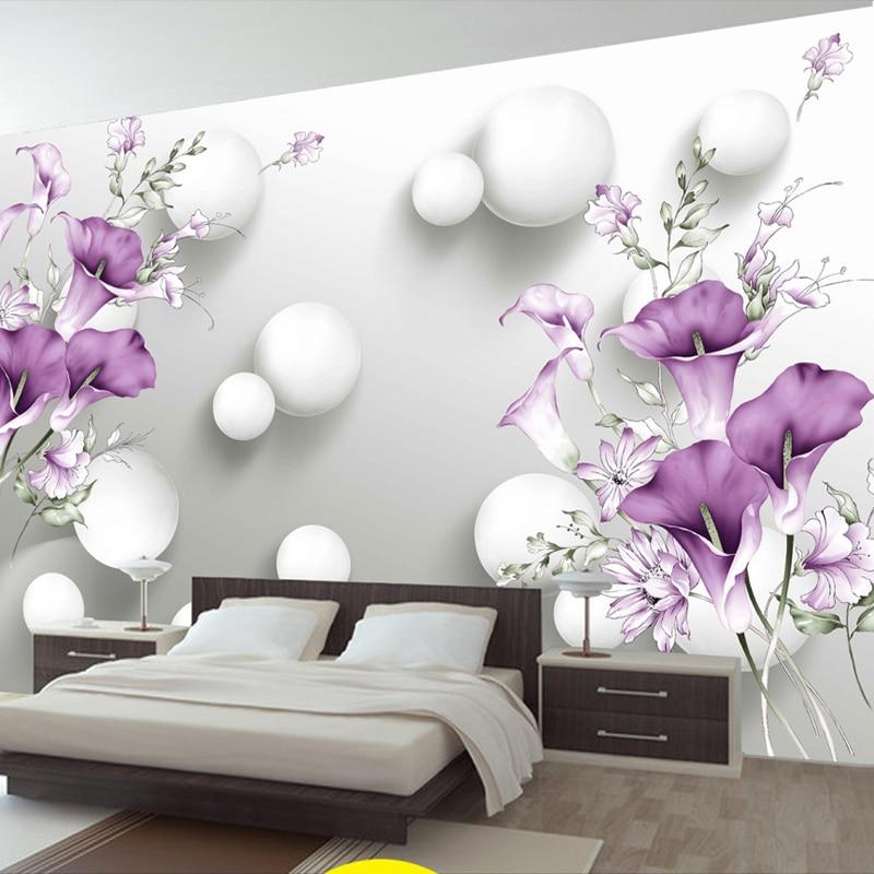 Custom Photo Wallpaper 3D Stereo Circle Ball Purple Calla Flowers Murals Modern Bedroom Living Room TV Background Wall Painting
