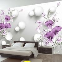 Custom Photo Wallpaper 3D Stereo Circle Ball Purple Calla Flowers Murals Modern Bedroom Living Room TV