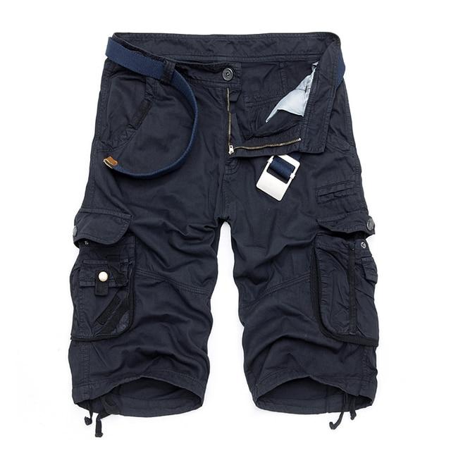 Calções Bermudas Verão 2017 Camuflagem Militar de Camo Shorts Da Carga Dos Homens de Algodão Solto Calças Curtas Táticos Sem Cinto
