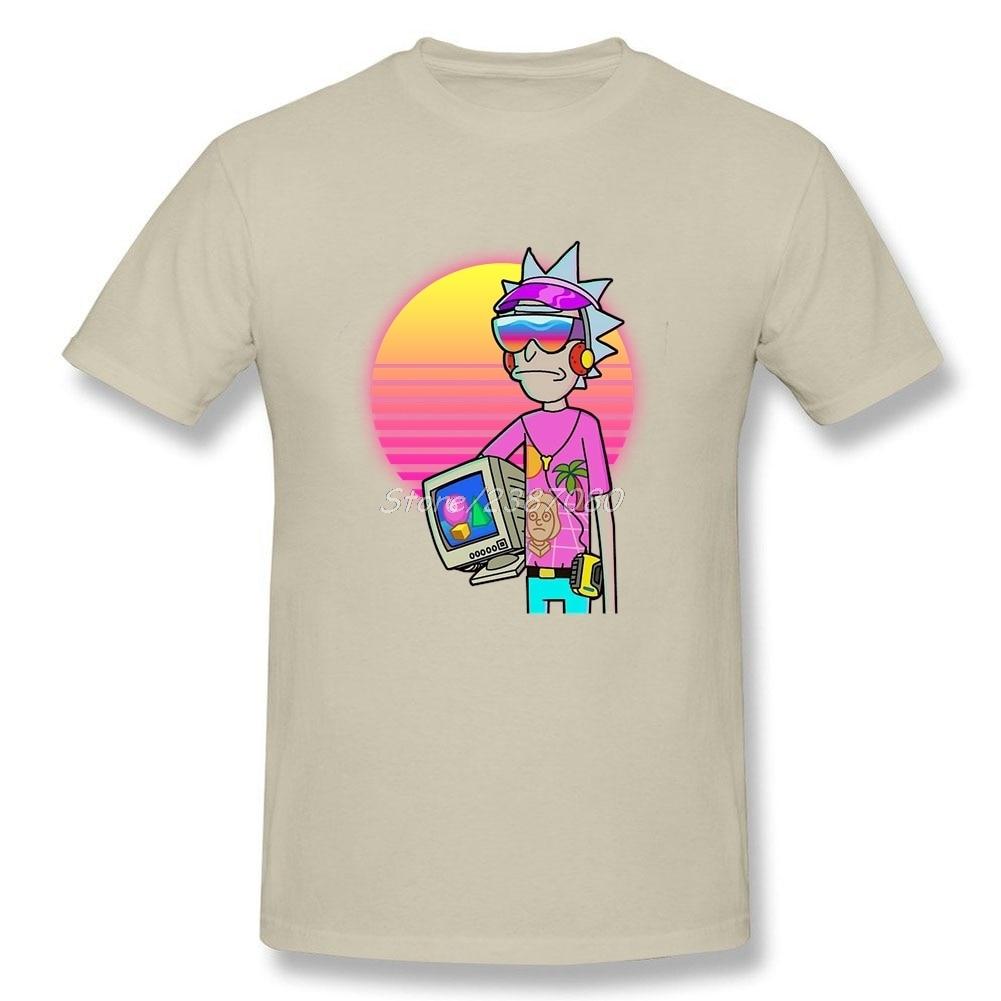 Vaporwave Rick T Shirt Short Sleeve Men's Clothes Popular Car-styling O-neck Cotton Big Size  Men Shirts