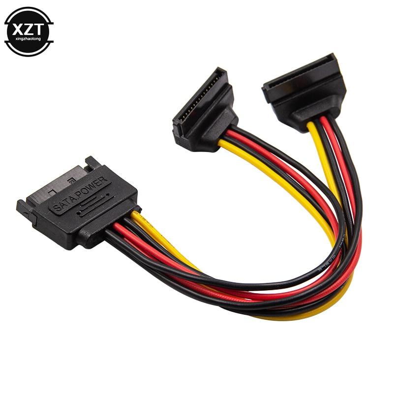 1 шт. 90 градусов SATA 15-контактный штекер на 2x15P Женский Y-образный разветвитель, адаптер питания, кабель высокого качества