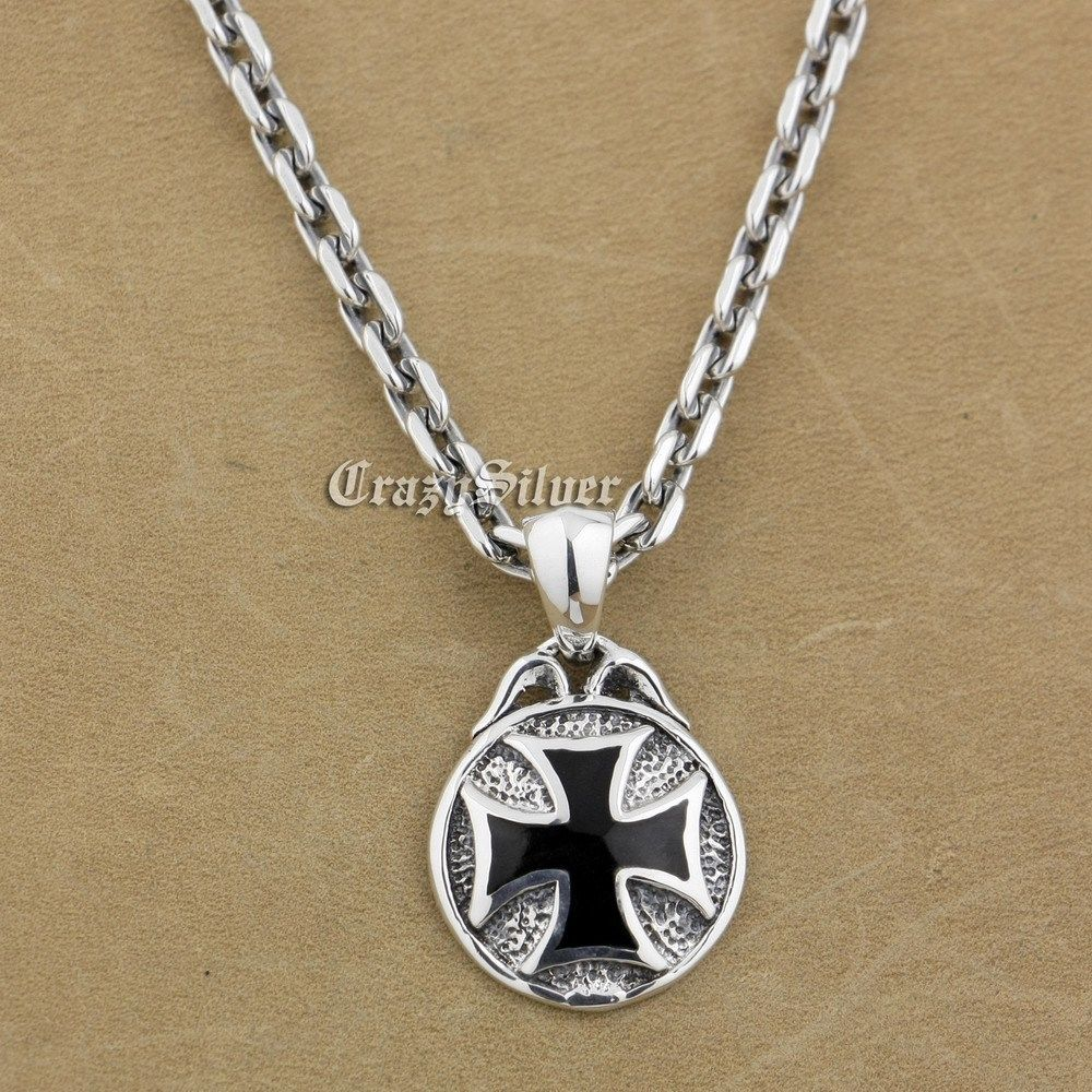 925 Sterling Silver Round Cross Mens Biker Rocker Punk Pendant 9V103 Sterling Silver Necklace 24 inches 18 to 36 925 sterling silver skulls mens biker rocker punk necklace 8w004n