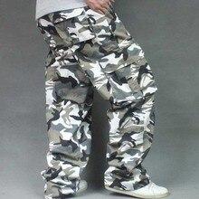Свободные камуфляжные брюки карго для мужчин повседневные военные стиль много карманов Брюки уличная одежда для бега