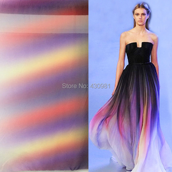 new arrive imitated silk fabric 100d chiffon colorful gowns dress material gradual chiffon fabric sheer