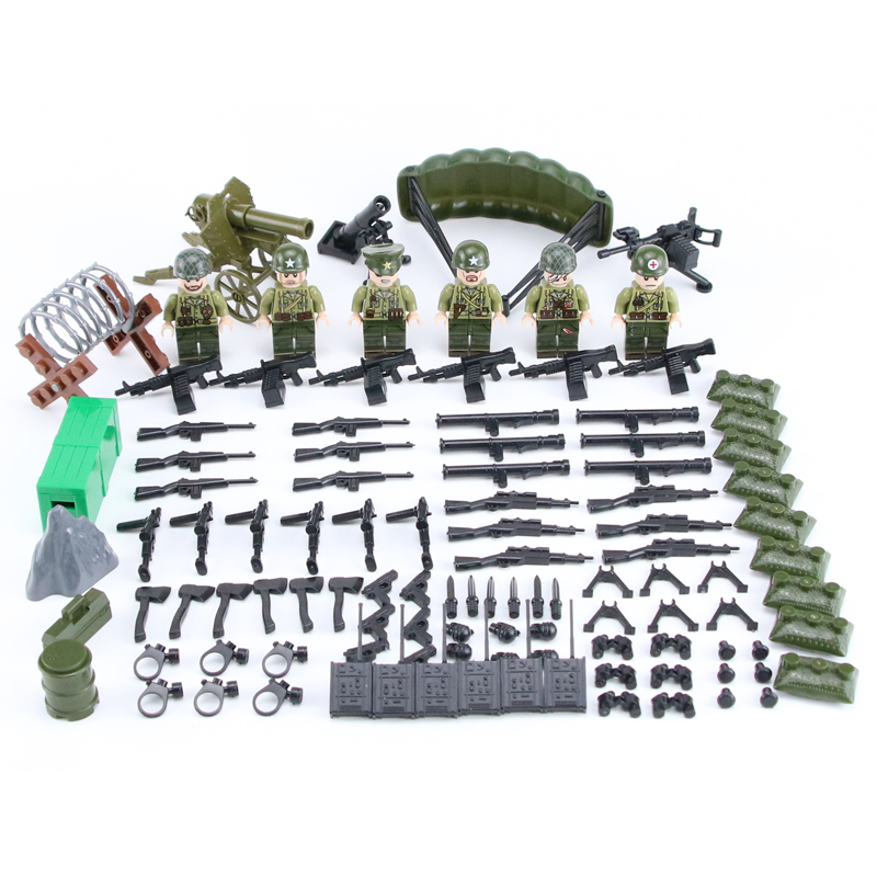 6PCS/Lot World War 2 USA Army Army Soldiers Counterattack Military Figures Weapon Building Blocks Toy Compatible Legoed WW2 Toys