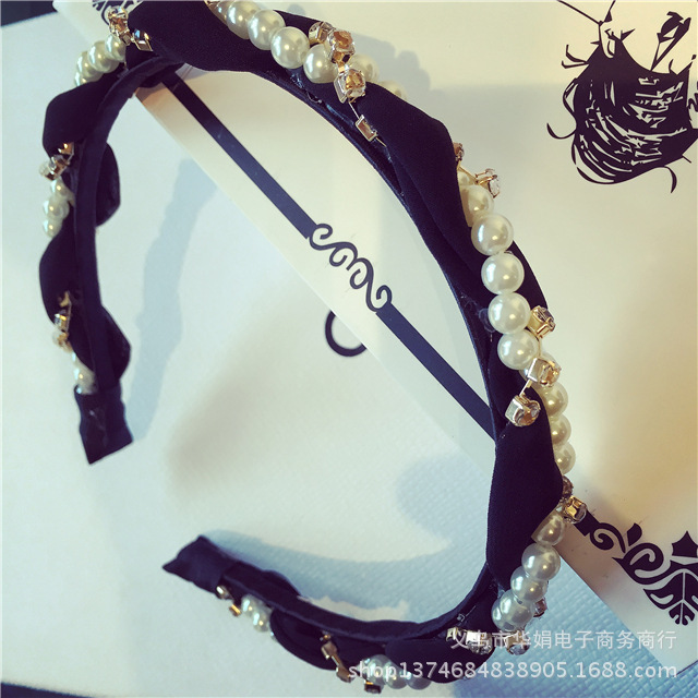 Luxurious Pearls Rhinestone Hair Hoop Headband  3